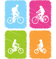 colorful bicyclists icons set vector image
