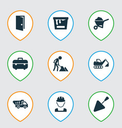 construction icons set with door color can vector image