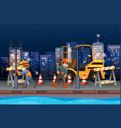 construction worker working at night vector image