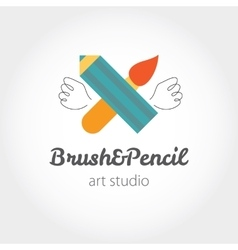 Creative modern sign with brush pen and wings vector image