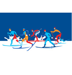 Cross country ski race vector