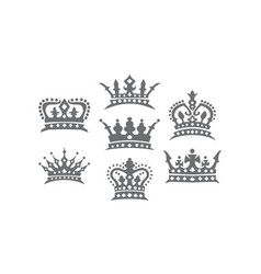 crown logo set vector image