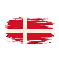 danish flag brush grunge background vector image