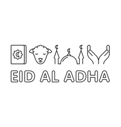 Eid al adha horizontal linear banner muslim vector