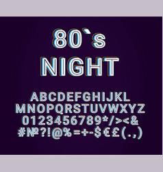 eighties night vintage 3d alphabet set vector image