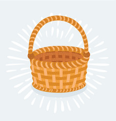 Empty wicker basket isolated on white vector