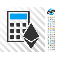 Ethereum calculator flat icon with bonus vector
