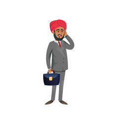 Ethnic entrepreneur character talking on phone vector