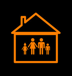family sign orange icon on black vector image