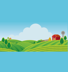 Farm on hill with green field background vector