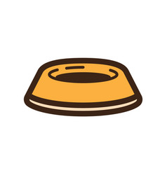Flat color dog bowl icon vector