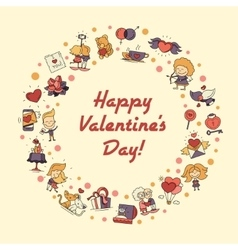 Flat design Valentines day love and romance icons vector image