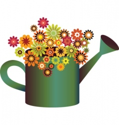 flowers in watering can vector image