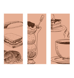 food sketch banner natural menu restaurant vector image