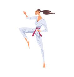 Girl karateka doing kick female karate fighter vector