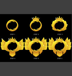 Gold frame game rank round avatar template 6 vector