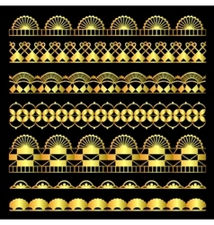 Golden set of lace ribbons vector image