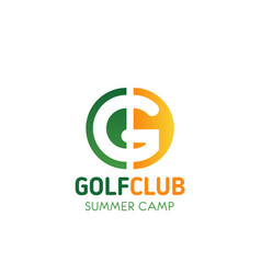 golf club summer camp letter g icon vector image