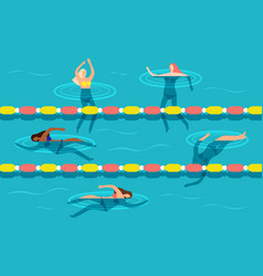 Group women swimming in waterpool vector