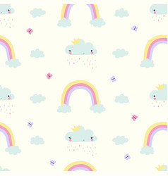 hand draw clouds and butterflies seamless pattern vector image