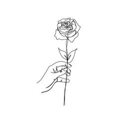 Hand holding rose minimalism design vector