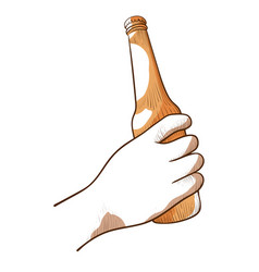 hand with a bottle beer icon vector image