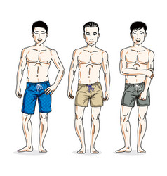 Handsome men standing wearing beach shorts people vector