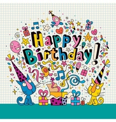 Happy birthday card with cute kittens vector