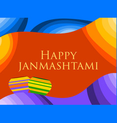 Happy janmashtami birth of krishna poster with vector