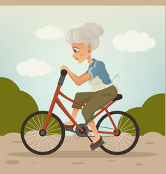 Happy smiling grandmother character riding bike vector