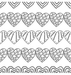 hearts black and white decorative seamless vector image