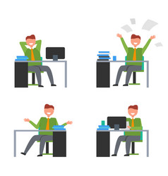 Icons with man in office vector