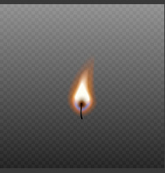 isolated candle fire on black wick without source vector image