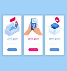 isometric delivery app isometric website template vector image