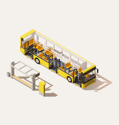 Isometric low poly bus cross-section vector