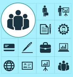 Job icons set collection of group diagram work vector