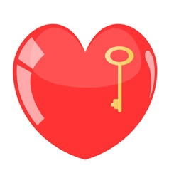 Key in red heart vector