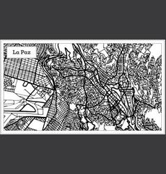 la paz bolivia city map in black and white color vector image