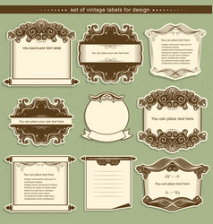 Label frames with decor vignettes vector