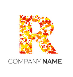 Letter r logo with orange yellow red particles vector