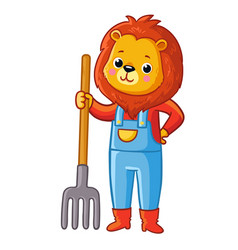 Lion stands with a pitchfork in his hand vector