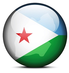 Map on flag button of Republic of Djibouti vector image