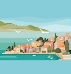 Mediterranean landscape with sea mountains beach vector