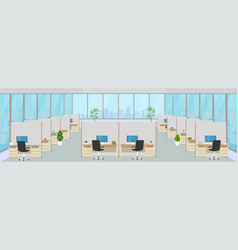 modern office center with workplaces empty vector image