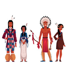 native american indians men and women in vector image