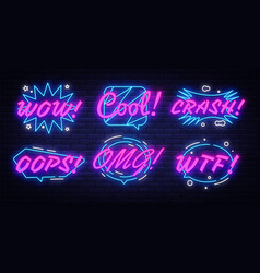 neon comic speech bubbles set with different vector image