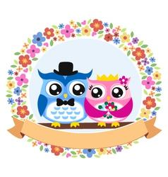 owl floral emblem design vector image