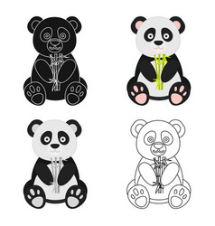 Panda icon in cartoon style isolated on white vector