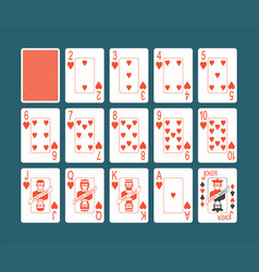 playing cards hearts set vector image