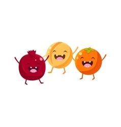 Pomegranate Melon And Orange Cartoon Friends vector